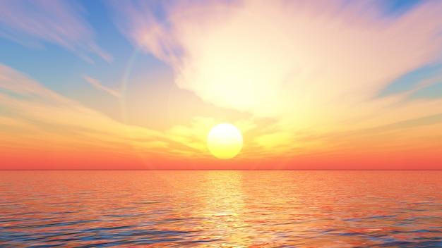 Renderização 3d de uma paisagem do oceano ao pôr do sol