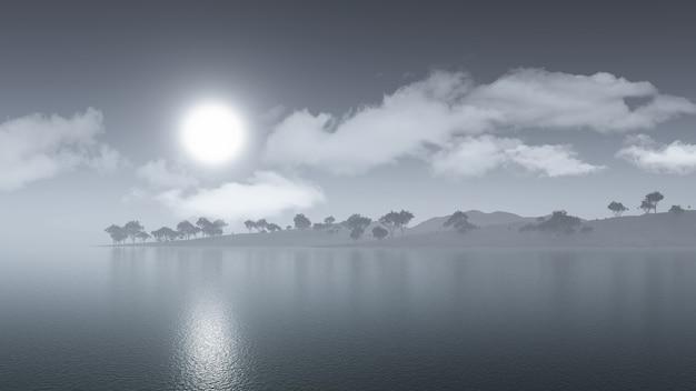 Renderização 3d de uma paisagem enevoada de uma ilha