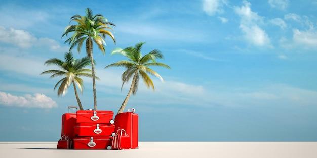Renderização 3d de uma pilha de bagagem vermelha em uma praia tropical