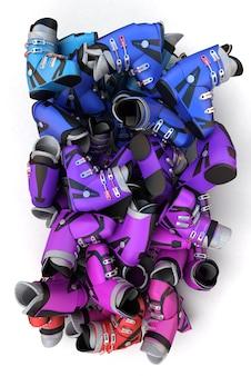 Renderização 3d de uma pilha de botas de esqui