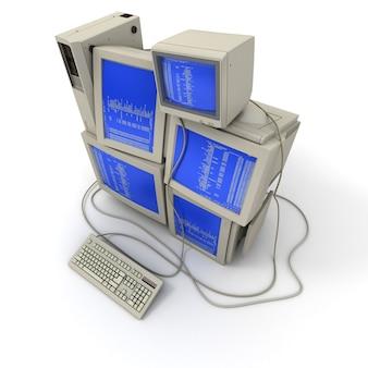 Renderização 3d de uma pilha de computadores com um código binário nas telas