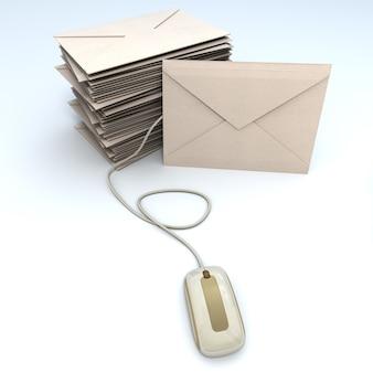 Renderização 3d de uma pilha de envelopes conectada a um mouse de computador