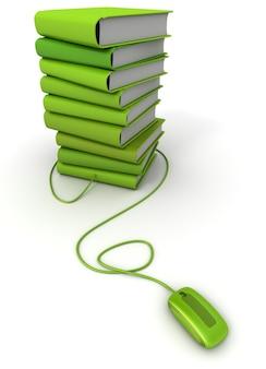 Renderização 3d de uma pilha de livros verdes conectados a um mouse de computador