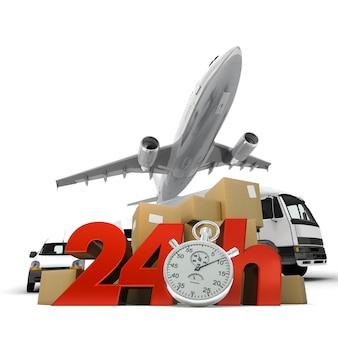 Renderização 3d de uma pilha de pacotes e um avião com as palavras 24 horas e um cronômetro