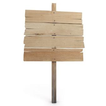 Renderização 3d de uma placa direcional de madeira