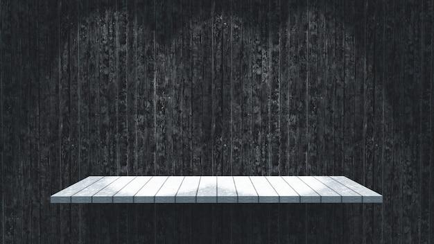 Renderização 3d de uma prateleira de madeira com holofotes brilhando