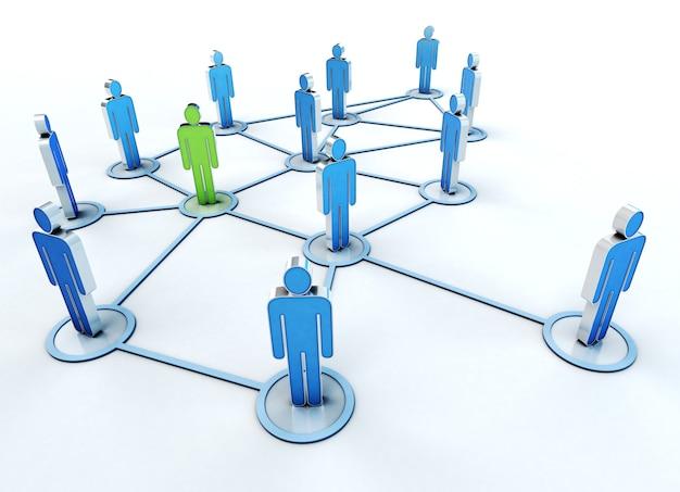Renderização 3d de uma rede de indivíduos azuis e verdes