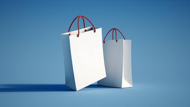 Renderização 3d de uma sacola de compras branca em uma superfície azul