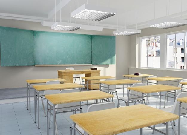Renderização 3d de uma sala de aula escolar