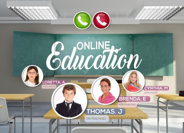 Renderização 3d de uma sala de aula vazia com as palavras educação online escritas no quadro negro e uma videoconferência ocorrendo