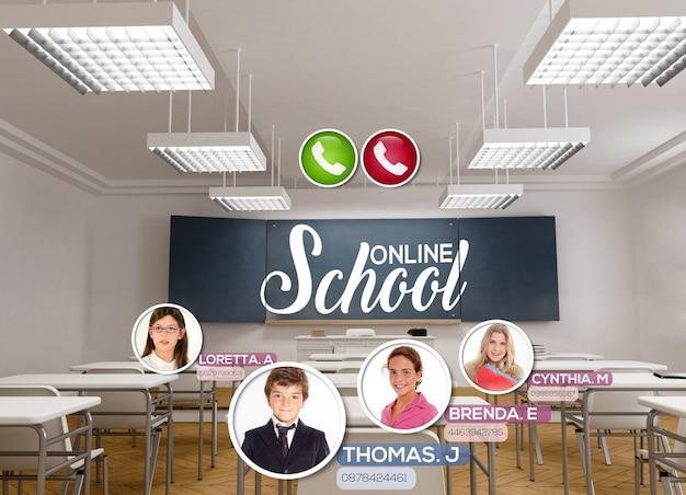 Renderização 3d de uma sala de aula vazia com as palavras escola online escritas na lousa e uma videoconferência ocorrendo