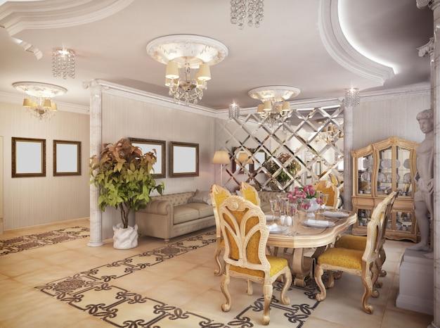 Renderização 3d de uma sala de estar, corredor e cozinha em estilo clássico