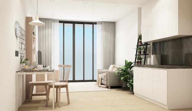 Renderização 3d de uma sala de estar moderna em estilo contemporâneo