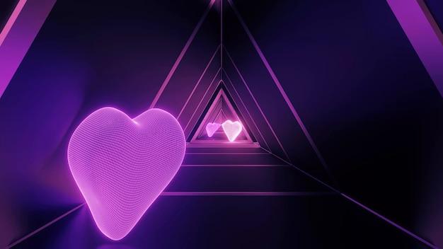 Renderização 3d de uma sala futurista com formas de coração e luzes de néon roxas