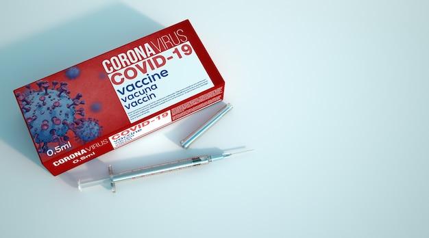 Renderização 3d de uma seringa por uma caixa com vacina covid 19
