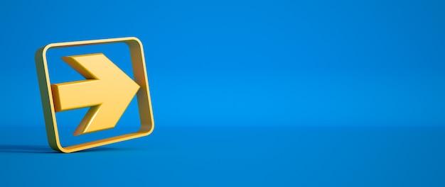 Renderização 3d de uma seta amarela em uma superfície azul