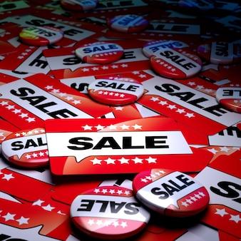 Renderização 3d de uma superfície de campanha cheia de emblemas e placas com a palavra venda