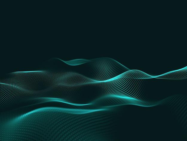 Renderização 3d de uma tecnologia abstrata com partículas fluidas