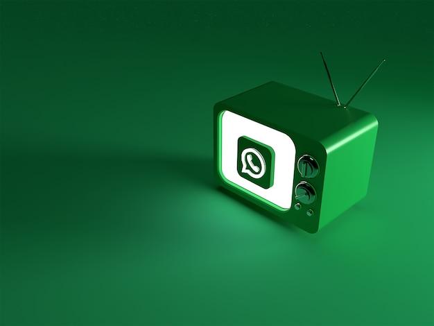 Renderização 3d de uma tv com o logotipo brilhante do whatsapp
