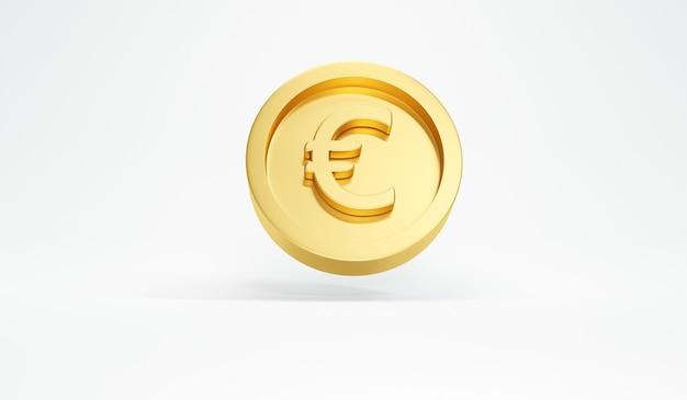 Renderização 3d de uma única moeda de euro em ouro flutuando no fundo branco