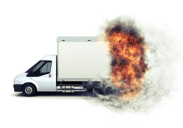 Renderização 3d de uma van de caçamba plana com um efeito de fogo rápido adicionado