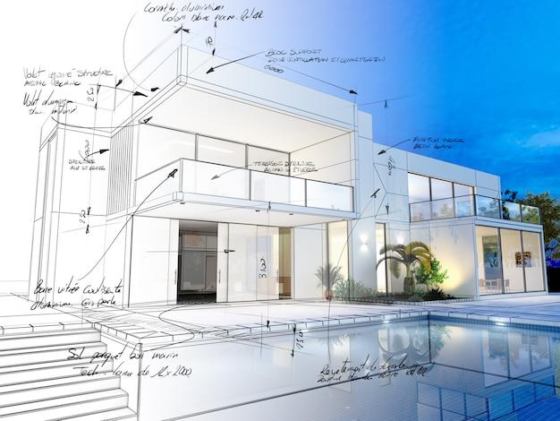 Renderização 3d de uma villa luxuosa com renderização realista contrastante, wireframe e notas