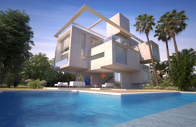 Renderização 3d de uma villa moderna com piscina em um jardim exótico