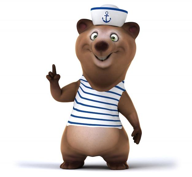 Renderização 3d de urso fofo