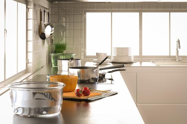 Renderização 3d de utensílios de cozinha com armários de cozinha