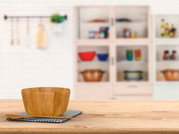 Renderização 3d de utensílios de cozinha em balcão de madeira com fundo desfocado de cozinha