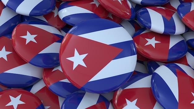 Renderização 3d de vários emblemas com a bandeira cubana em uma visão de perto