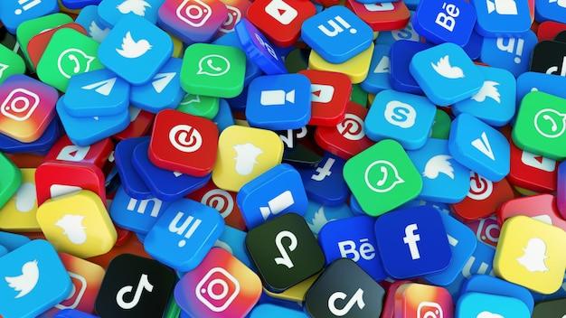 Renderização 3d de vários logotipos quadrados dos principais aplicativos de mídia social em uma visualização de perto