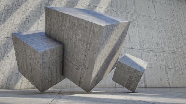 Renderização 3d de visualização cúbica de concreto