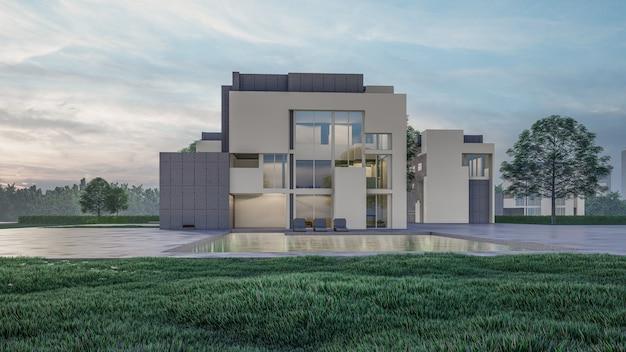 Renderização 3d de visualização de casa residencial