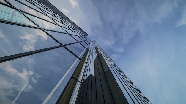 Renderização 3d de visualização de edifício de arranha-céu exterior