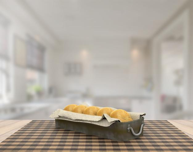 Renderização 3d decoração de cena de pão