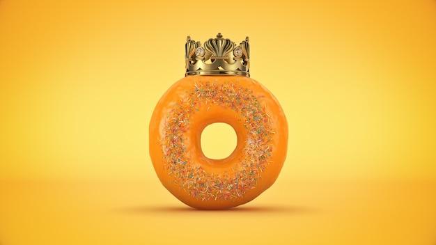 Renderização 3d deliciosa rosquinha king