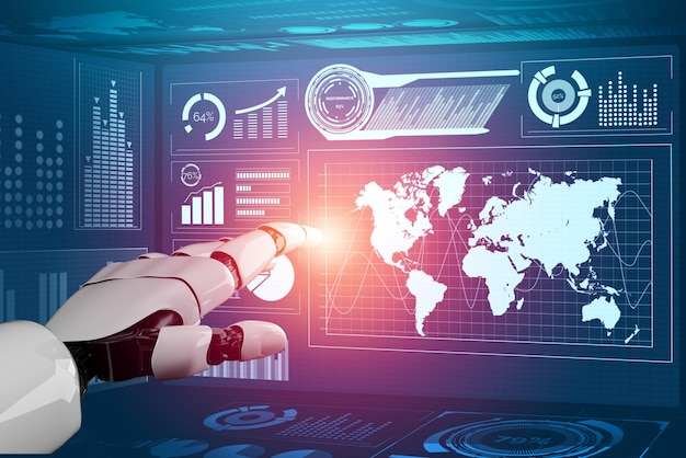 Renderização 3d - desenvolvimento de tecnologia de robô futurista, inteligência artificial ai e conceito de aprendizado de máquina. pesquisa da ciência biônica robótica global para o futuro da vida humana.