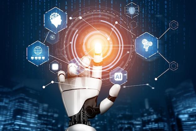 Renderização 3d, desenvolvimento de tecnologia de robô futurista, inteligência artificial ai