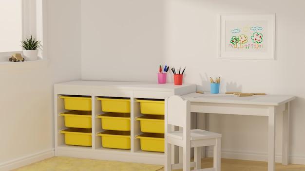 Renderização 3d design de interiores de quarto de criança branco com papelaria e decoração de mesa de estudo