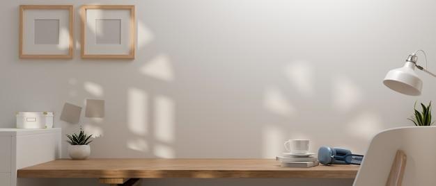 Renderização 3d, design de interiores de salas de home office com livros de espaço de trabalho, lâmpada de fone de ouvido e decorações em mesa de madeira