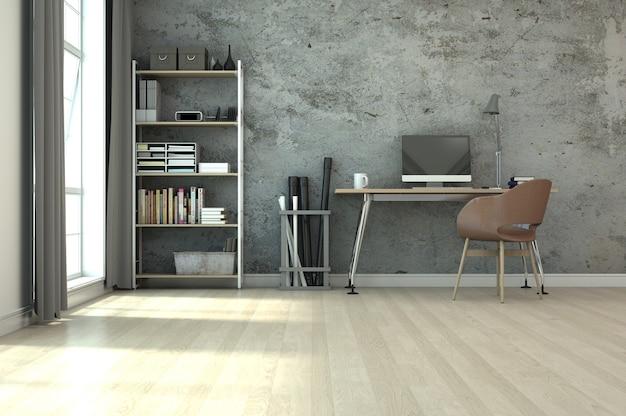 Renderização 3d design de interiores para área de trabalho