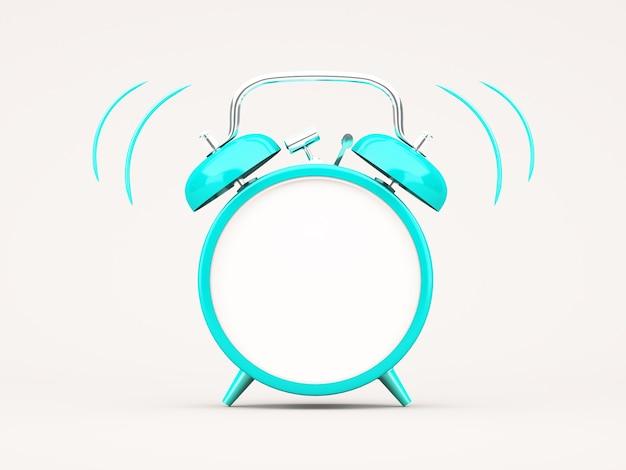 Renderização 3d despertador azul em fundo branco