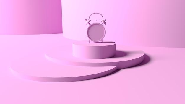 Renderização 3d. despertador em uma passarela rosa em uma rosa