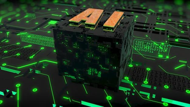 Renderização 3d digital de ai (inteligência artificial) sobre o fundo do circuito