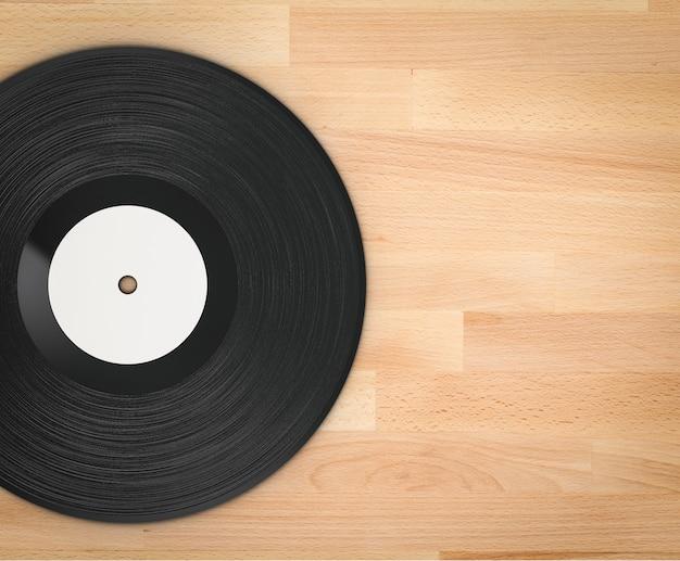Renderização 3d disco de vinil preto com fundo de madeira