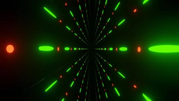 Renderização 3d distante com efeito de luz verde laranja