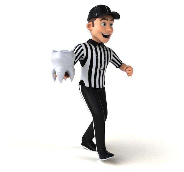 Renderização 3d divertida de um árbitro americano