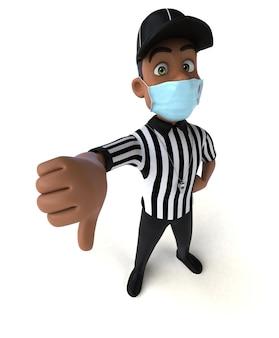 Renderização 3d divertida de um árbitro negro com uma máscara