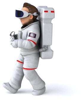 Renderização 3d divertida de um astronauta com um capacete de realidade virtual